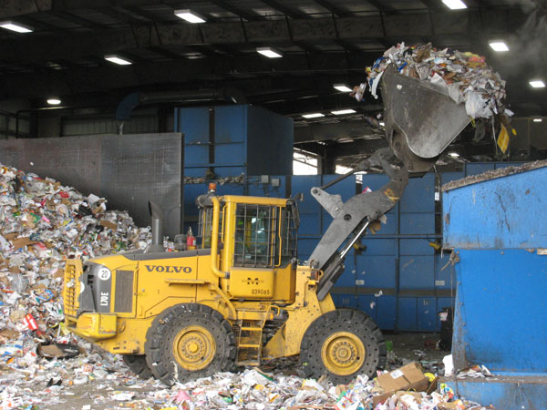 Front-end Loader at Material Recycling Facility (MRF)