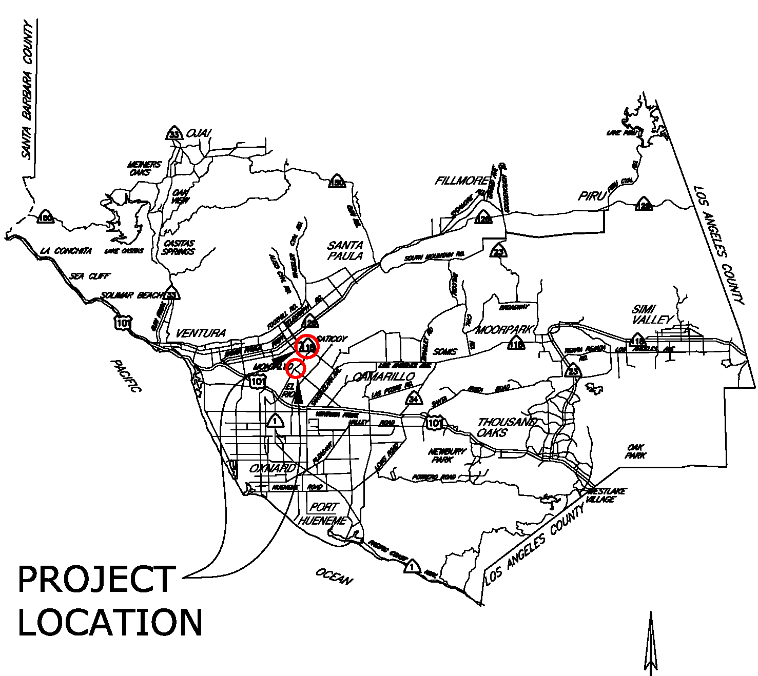 Location map for Bus Pullout/Bus Stop Installations-El Rio Saticoy Areas